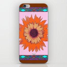 Western Style Chocolate Brown Pink-Orange Sunflower Art iPhone Skin