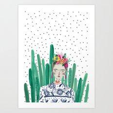 Frida Kahlo. Art, print, illustration, flowers, floral, character, design, famous, people, Art Print