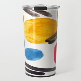 Mid Century Modern Abstract Juvenile childrens Fun Art Primary Colors Watercolor Minimalist Pop Art Travel Mug