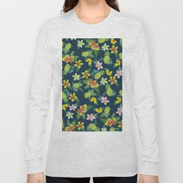 Tropical lime green coral navy blue pineapple watercolor floral Long Sleeve T-shirt