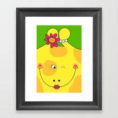 Giraffe Love Art - Cute, funny, colorful, lovely Children's Art Framed Art Print