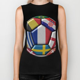 Russia 2018 - football ball with various flags Biker Tank