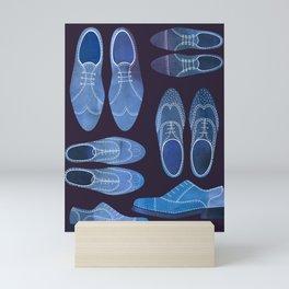 Blue Brogue Shoes for Hipsters & Gentlemen Mini Art Print