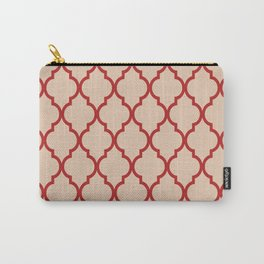 Classic Quatrefoil Lattice Pattern 731 Red and Beige Carry-All Pouch