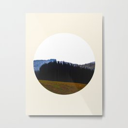Edge Of The Forest Landscape Round Photo Metal Print
