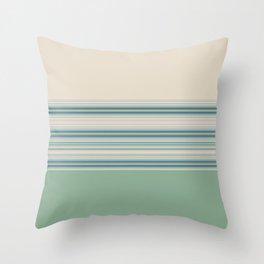 Mint Green Cream Stripes Throw Pillow