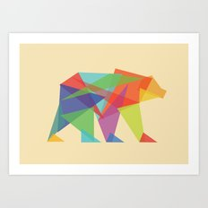 Fractal Geometric bear Art Print