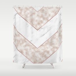 Shimmering mirage - pink marble chevron Shower Curtain