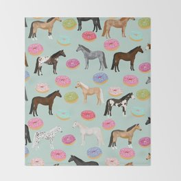 Horses Donuts - horse, donut, pastel, food, horse blanket, horse bedding, dorm, cute design Throw Blanket