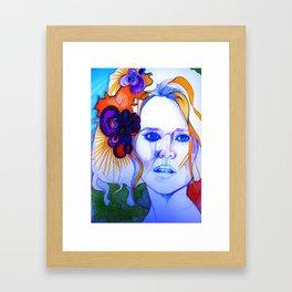 Blonde Girl With Flowers in her hair Framed Art Print