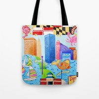 maryland Tote Bags featuring Baltimore, Maryland by Karen Riddle