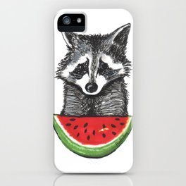 Racoon and watermelon iPhone Case