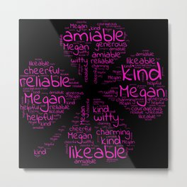 Megan name gift with lucky charm cloverleaf word Metal Print