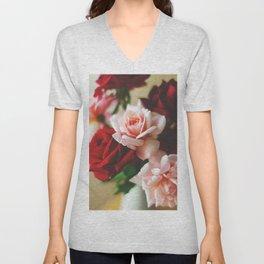 Pink and red rose Unisex V-Neck