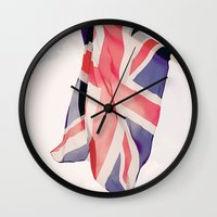 british flag Wall Clocks featuring British Flag by Rachael Jane