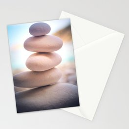 Zen beach rocks print, balancing pebbles, Yoga room art, Beach decor, wall art Stationery Cards