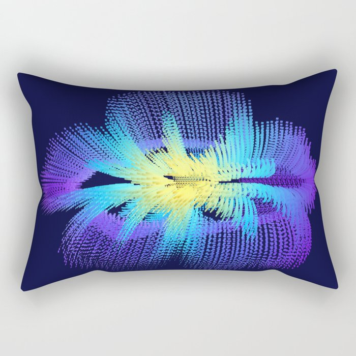 Brilliant Blue Hibiscus Abstract Flower Rectangular Pillow
