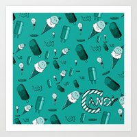 Ice Cream and Candy in turquoise Art Print