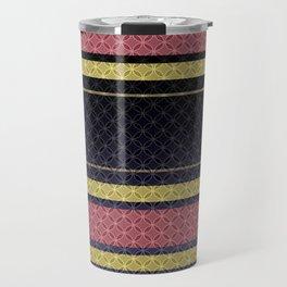 Black, blue, yellow, pink stripes . Travel Mug