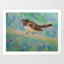 Birdie with bubbles Art Print