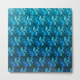 blue pattern with octopuses Metal Print