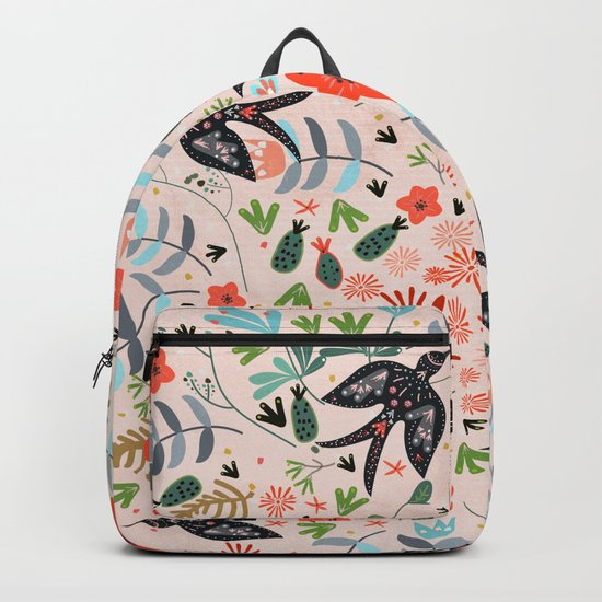 Around The Garden on Pink Backpack