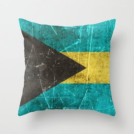 Vintage Aged and Scratched Bahamas Flag Throw Pillow