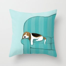 Happy Couch Beagle Throw Pillow