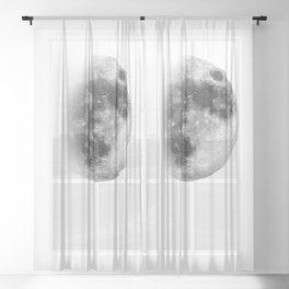 Waxing Gibbous   3/4 Moon   Black-and White   Space   Watercolor Painting   Illustration Sheer Curtain