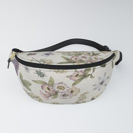 spring flowers with butterfly and beetles II Fanny Pack