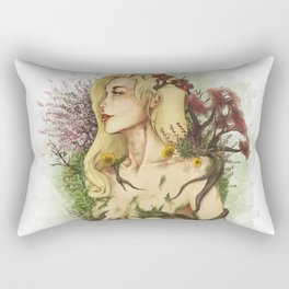 """Watercolor Painting of Picture """"Profile Woman"""" Rectangular Pillow"""