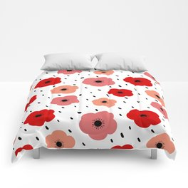 cute colorful pattern background with poppies Comforters
