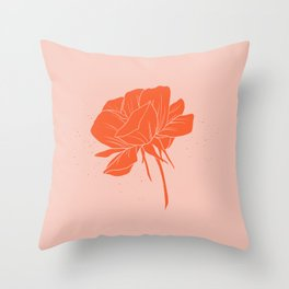 Red-Orange Peony Throw Pillow