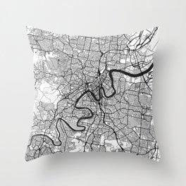 Brisbane Map Gray Throw Pillow