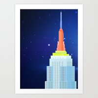 Empire State Building New York Illustration Art Print