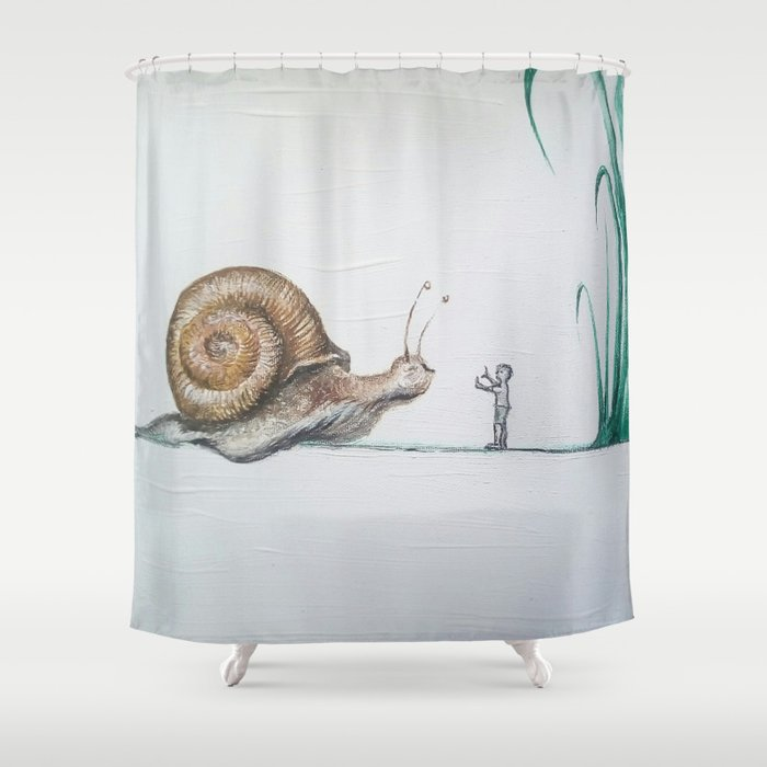 Snail And Little Boy Shower Curtain By Bgportretti