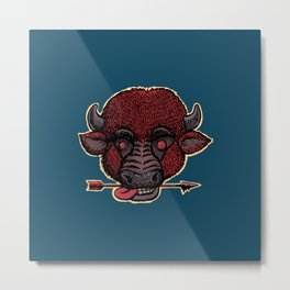 bison with a arrow in the teeth Metal Print