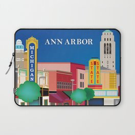Ann Arbor, Michigan - Skyline Illustration by Loose Petals Laptop Sleeve