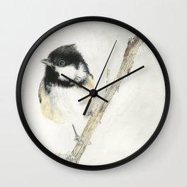 Coal Tit on Grey Wall Clock