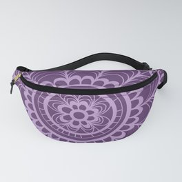 Lavender Dreams Flower Medallion - Medium with Light Outline Fanny Pack