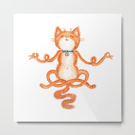 Zen Cat Meditation Metal Print