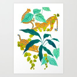 Leopards Playing among Plants Art Print
