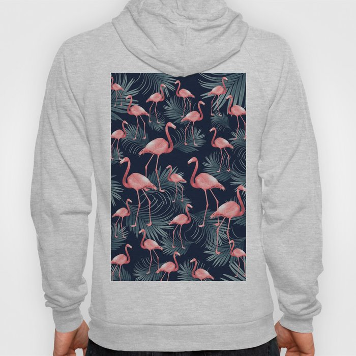 Summer Flamingo Palm Night Vibes #1 #tropical #decor #art #society6 Hoody