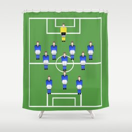 Football Soccer sports team in blue Shower Curtain