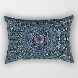 Blue Sacred Kaleidoscope Mandala Rectangular Pillow