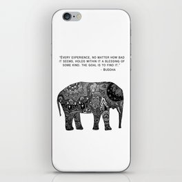 Buddha Quote with Henna Elephant iPhone Skin