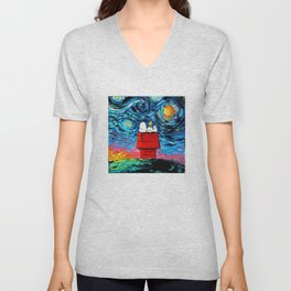 snoopy peanuts starry night Unisex V-Neck