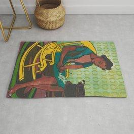 The Yellow Rocker Woodblock Art Rug