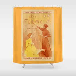 Art by women art nouveau ad drawing Shower Curtain