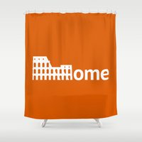 rome Shower Curtains featuring Rome by Flat Design